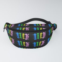 Four Colorful Balloon Animal Poodle Dogs on Black Fanny Pack