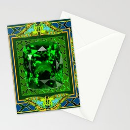 DECORATIVE  GREEN EMERALD GEM & BUTTERFLY ART DESIGN Stationery Cards