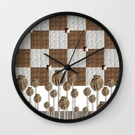 Poppy seed pods in neutral Wall Clock
