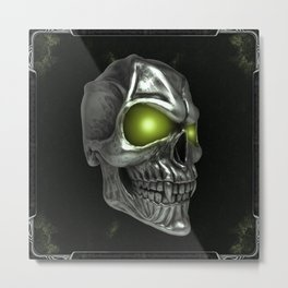 Skull with glowing green eyes Metal Print