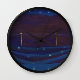Starlight Night, Lake George, New York landscape painting by Georgia O'Keeffe Wall Clock