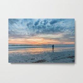 Gone Sunset Beach Fishing Metal Print