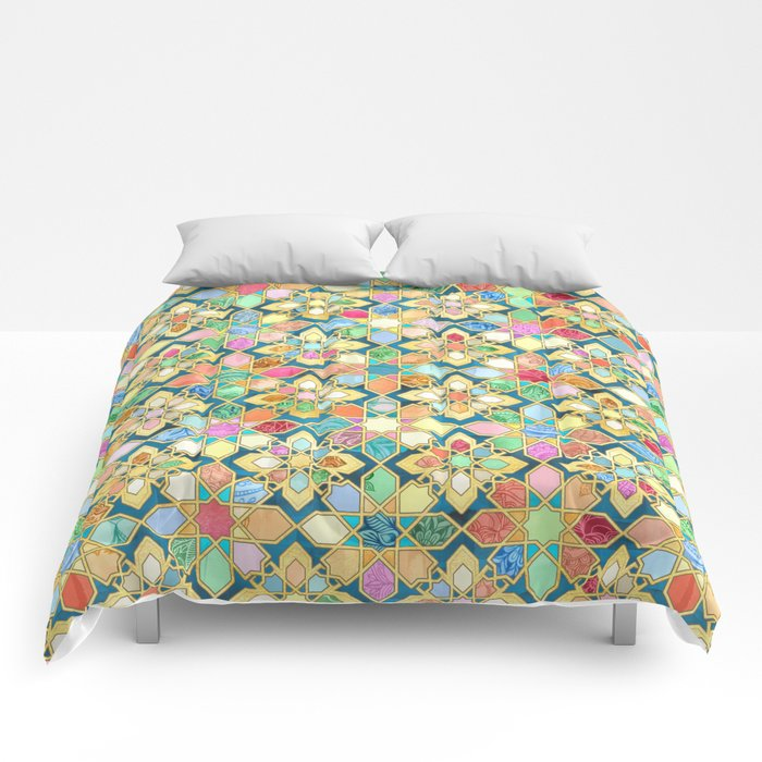 Gilded Moroccan Mosaic Tiles Comforters