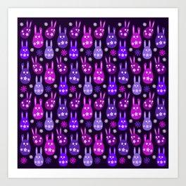 Easter Egg Bunny Pattern - Purple Mauve Lilac Ultra Violet Pink Art Print