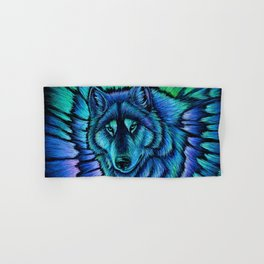 Blue Wolf Aurora Colorful Fantasy Hand & Bath Towel