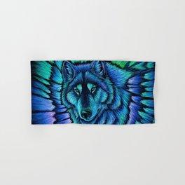 Blue Wolf Aurora Colorful Fantasy Hand & Bath Towel