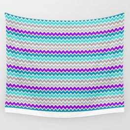 Teal Turquoise Blue Purple Grey Gray Chevron  Wall Tapestry