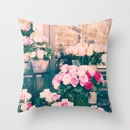 Paris flower market Throw Pillow