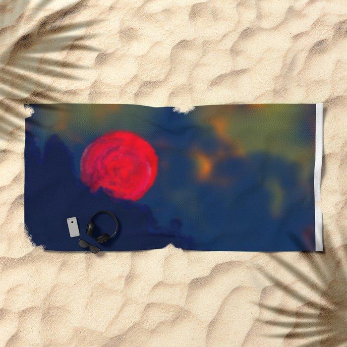 Red Moon Beach Towel