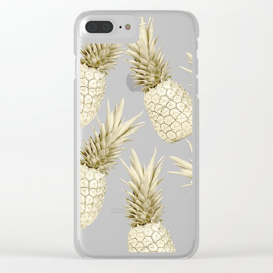 Gold Pineapple Bling Clear iPhone Case