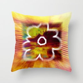 Yellow flower and line Throw Pillow