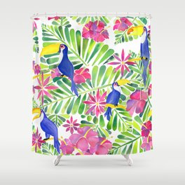 Tropical Toucans Watercolor Painting Shower Curtain
