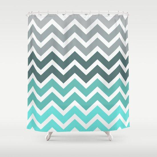 Tiffany Fade Chevron Pattern Shower Curtain