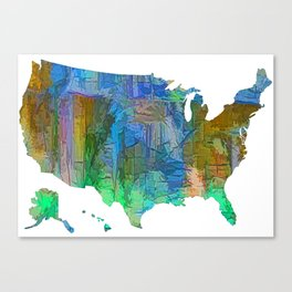 Usa Colorful Map Canvas Print