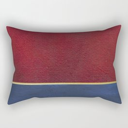 Deep Blue, Red And Gold Abstract Painting Rectangular Pillow