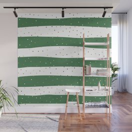 Simple Christmas seamless pattern Golden Confetti on Green and White Stripes Background Wall Mural