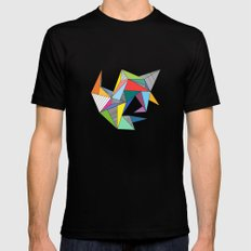 Abstract Triangles Black Mens Fitted Tee SMALL