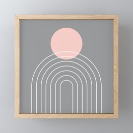 Mid Century Modern Geometric 76 in Ultimate Grey and Rose Gold (Sun and Rainbow abstraction) Framed Mini Art Print