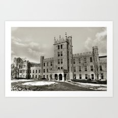 Northern Illinois University Castle - Black and White Art Print