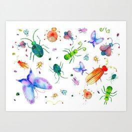 Fun Colorful Bugs Pattern Art Print