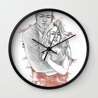 kendrawcandraw Wall Clocks featuring I think the kids are in trouble by kendrawcandraw