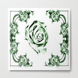 green damask rose Metal Print