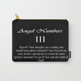angel number 111 Black & White Affirmation Carry-All Pouch