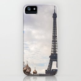 Eiffel tower and Sainte-Trinite cathedral in paris iPhone Case