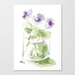 Watercolor Violets in a Mason Jar Canvas Print