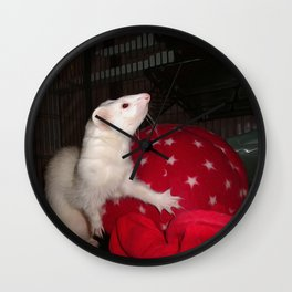 The Ivory Ferret and the Starry Red Bouncy House Wall Clock