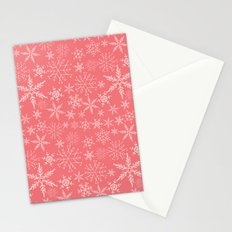 Pink and White Snowflakes Stationery Cards