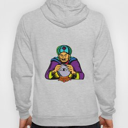 Fortune Teller With Crystal Ball Woodcut Hoody