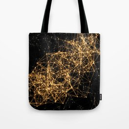 Shiny golden dots connected lines on black Tote Bag