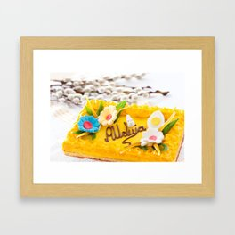 yellow decorative Easter cake Framed Art Print