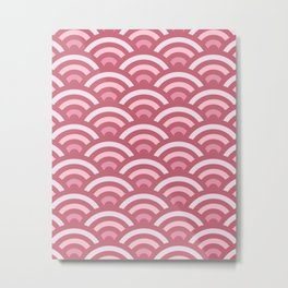 Soft Pink Gradient Seigaiha Metal Print
