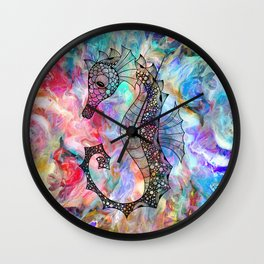 Drawn Seahorse on Colors Wall Clock
