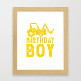 Birthday Boy Yellow Tractor Bulldozer Construction Party Framed Art Print