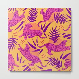 Tigers and Bamboos in Pink and Yellow Metal Print