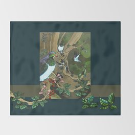 Pigeons, Parakeets and Fantails Throw Blanket
