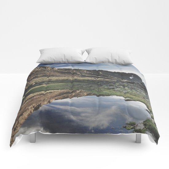 Dream Lake at the mountains. Retro Comforters