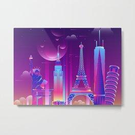 Synthwave Neon City #22 Metal Print