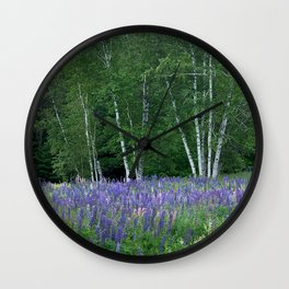 Birches in Blue Lupine Wall Clock