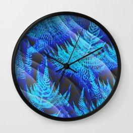 Icy Blue Ferns Nature Fantasy Wall Clock