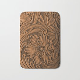 Golden Tanned Tooled Leather Bath Mat