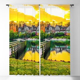 sunset over the hunting lodge Blackout Curtain