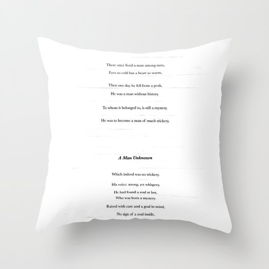 a man unknown Throw Pillow