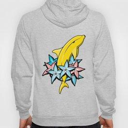 Banana dolphin illustration with color stars carambolas. Hoody