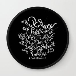 My Grace is Sufficient - 2 Corinthians 12:9 /  White on Black Wall Clock