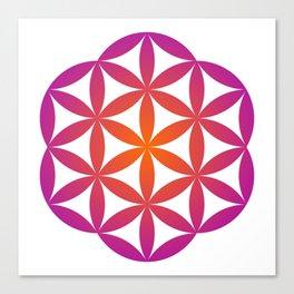Flower of life in orange and purple gradient  Canvas Print