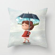 Happy umbrella Throw Pillow